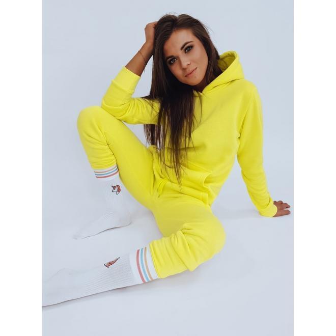 Športová dámska mikina žltej farby s kapucňou