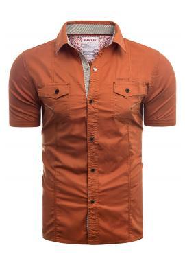 Slim fit pánska košeľa oranžovej farby s krátkym rukávom