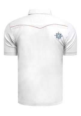 Pánska slim fit košeľa s krátkym rukávom v bielej farbe