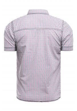 Modro-červená vzorovaná košeľa s krátkym rukávom pre pánov