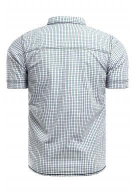 Vzorovaná pánska košeľa modro-zelenej farby s krátkym rukávom