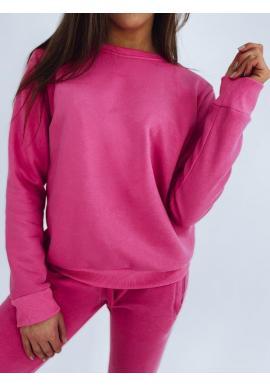 Ružové klasické mikiny bez kapucne pre dámy