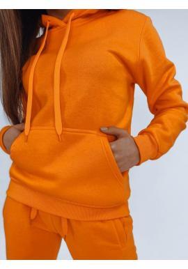Športové dámske mikiny oranžovej farby s kapucňou