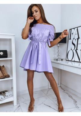 Fialové módne šaty s opaskom pre dámy