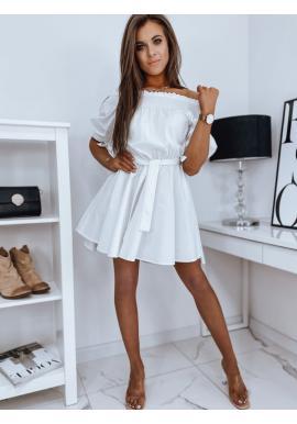 Dámske módne šaty s opaskom v bielej farbe