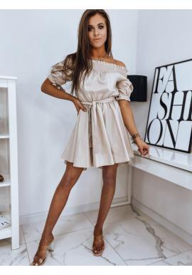 Módne dámske šaty béžovej farby s opaskom