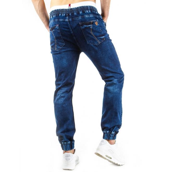 Športové modré nohavice s kontrastnou šnúrkou