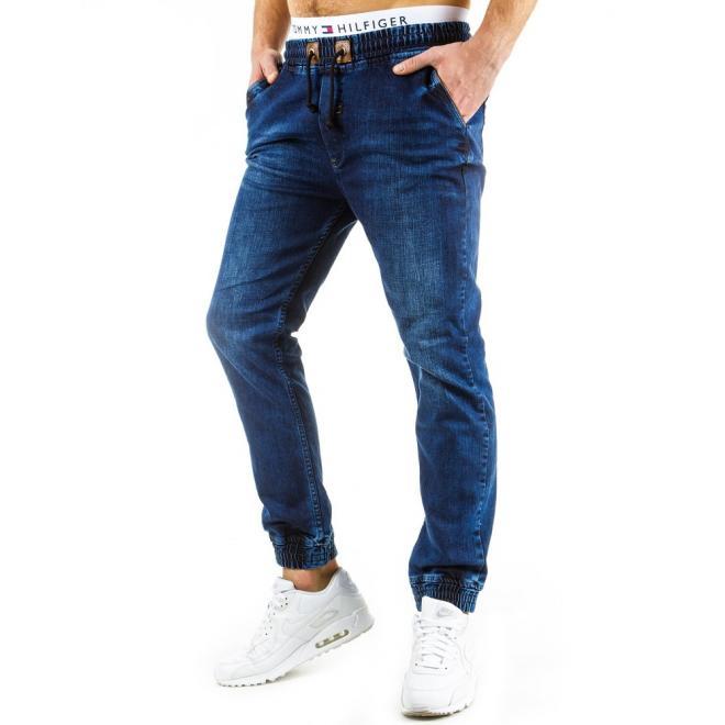 Tmavomodré športové nohavice s kontrastnou šnúrkou pre pánov