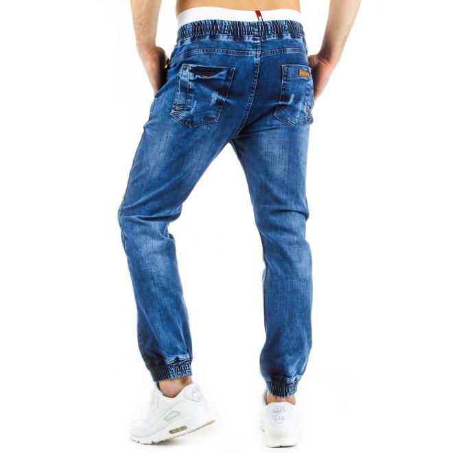 Štýlové športové nohavice v tmavomodrej farbe