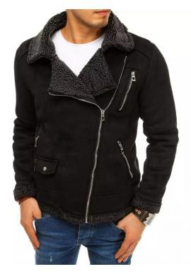 Semišová pánska bunda čiernej farby na zimu
