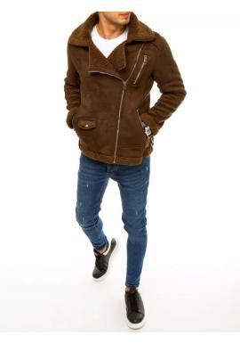 Pánska semišová bunda na zimu v hnedej farbe