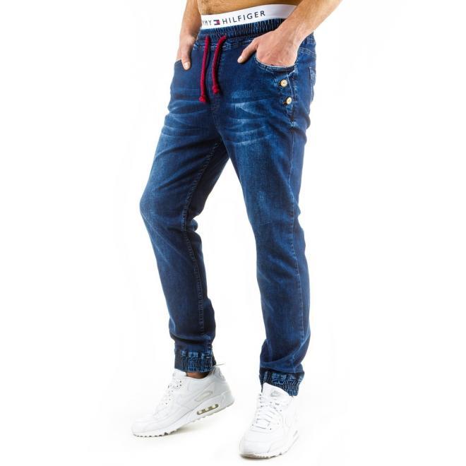 Pánske modré športové nohavice so spínacími špendlíkmi