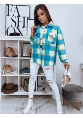 Dámska hrubá košeľa s kockovaným vzorom v tyrkysovej farbe