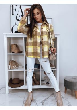Béžová hrubá košeľa s kockovaným vzorom pre dámy