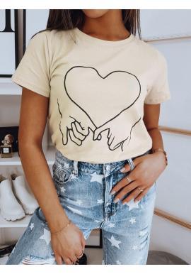 Bavlnené dámske tričko béžovej farby s potlačou
