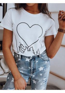 Dámske bavlnené tričko s potlačou v bielej farbe