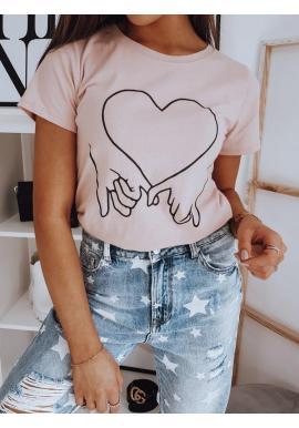 Ružové bavlnené tričko s potlačou pre dámy