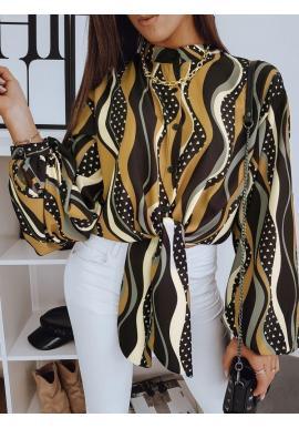 Dámska elegantná blúzka s viazaním a vzorom v čiernej farbe