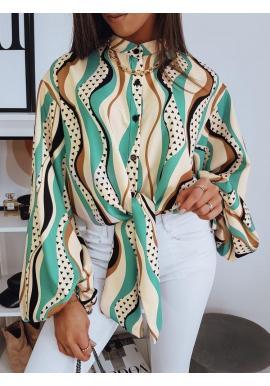 Béžová elegantná blúzka s viazaním a vzorom pre dámy