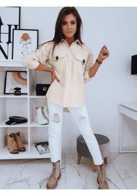 Oversize dámska košeľa béžovej farby s vreckami na hrudi