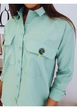 Dámska oversize košeľa s vreckami na hrudi v mätovej farbe