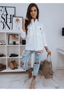 Biele oversize košele s vreckami na hrudi pre dámy