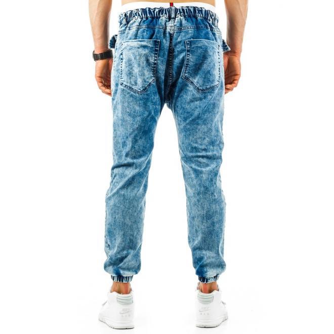 Pánske športové nohavice modrej farby s gombíkmi