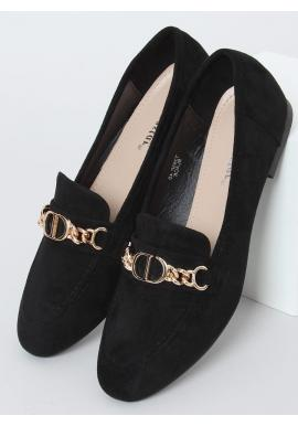 Čierne elegantné mokasíny so zlatou ozdobou pre dámy