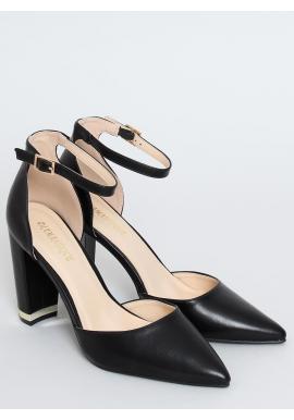 Dámske elegantné lodičky na módnom podpätku v čiernej farbe