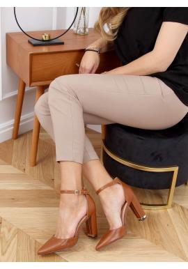 Elegantné dámske lodičky hnedej farby na módnom podpätku