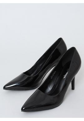 Lakované dámske lodičky čiernej farby na podpätku