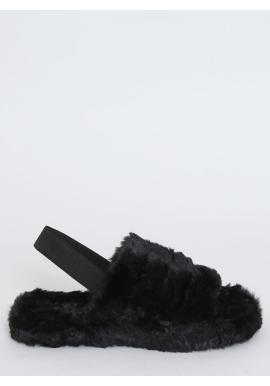 Kožušinové dámske papuče čiernej farby s gumičkou