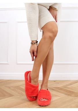 Kožušinové dámske papuče oranžovej farby s gumičkou