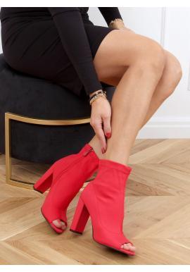 Červené elastické čižmy na opätku s otvorenou špičkou pre dámy