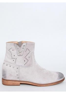 Sivé ažúrové topánky na skrytom opätku pre dámy