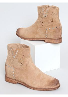 Ažúrové dámske topánky béžovej farby na skrytom opätku