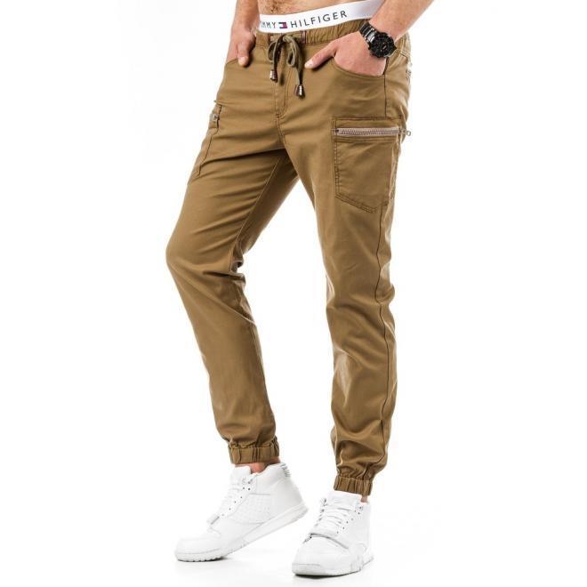 Hnedé športové nohavice pre pánov