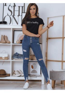 Čierne bavlnené tričko s nápisom pre dámy