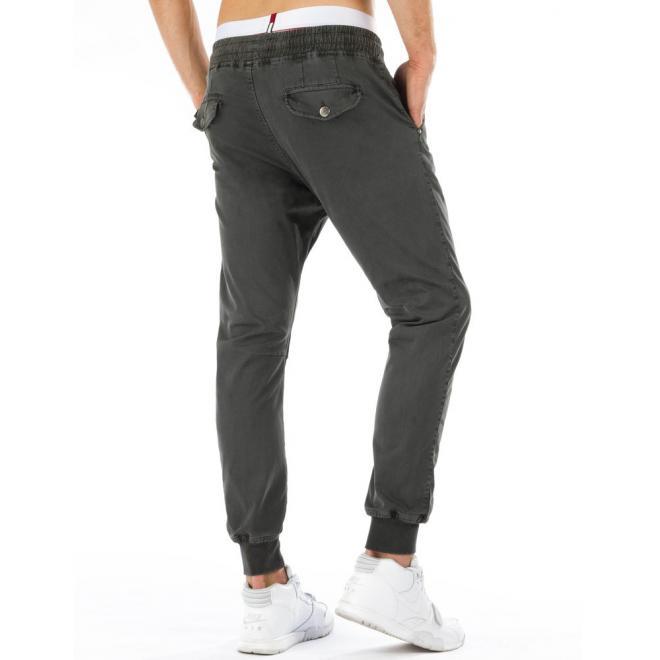 Športové klasické nohavice v sivej farbe pre pánov