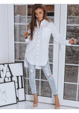 Dlhá dámska košeľa bielej farby s doplnkami