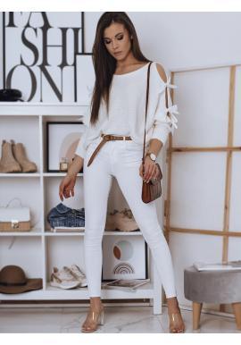 Biely voľný sveter s ozdobnými mašľami pre dámy