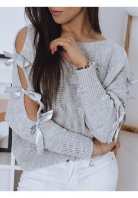 Voľný dámsky sveter svetlosivej farby s ozdobnými mašľami