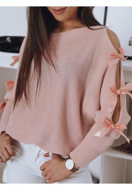 Dámske voľné svetre s ozdobnými mašľami v ružovej farbe