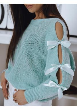 Tyrkysový voľný sveter s ozdobnými mašľami pre dámy