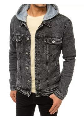 Pánska rifľová bunda s potlačou na chrbte v čiernej farbe