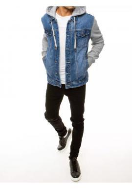 Modrá riflová bunda s teplákovými rukávmi pre pánov