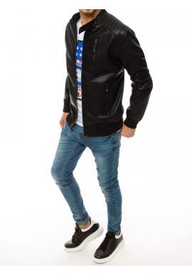 Kožená pánska bunda čiernej farby s ozdobným zipsom