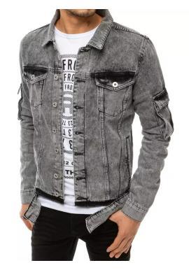 Rifľová pánska bunda sivej farby s dierami