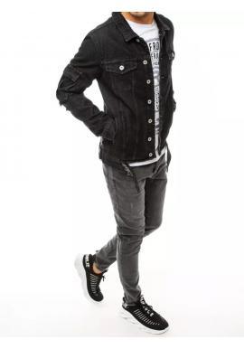 Čierna rifľová bunda s dierami pre pánov