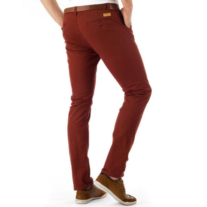 Pánske nohavice v bordovej farbe